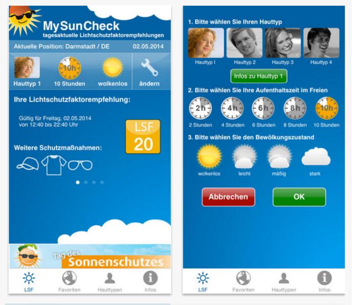 Die App MySuncheck.