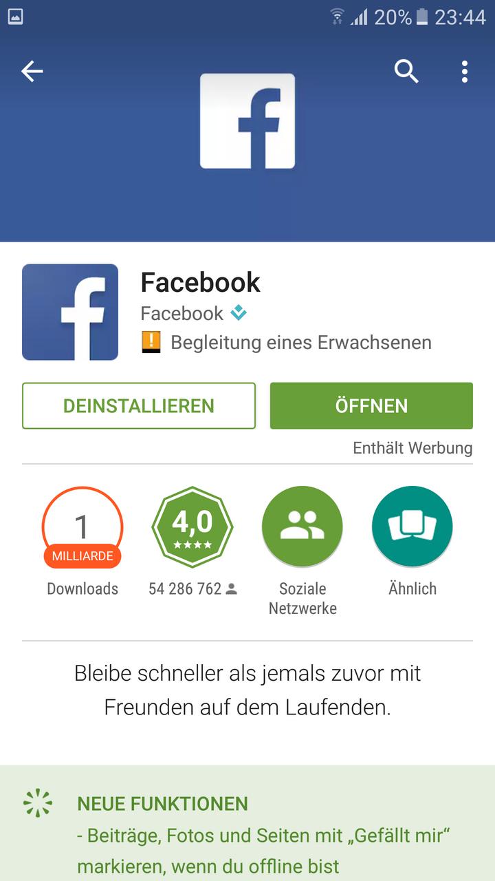 Screenshot des Google Play-Stores