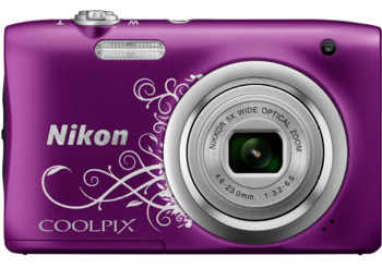 Digitalkamera von Nikon in violett.