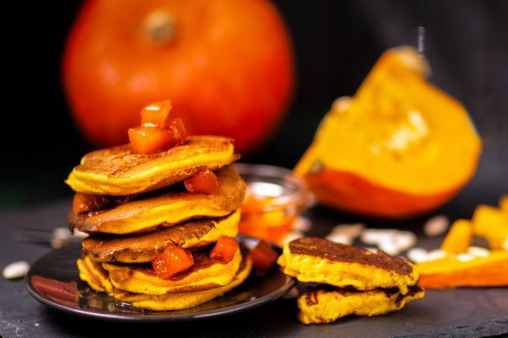 Kürbis-Pancakes.