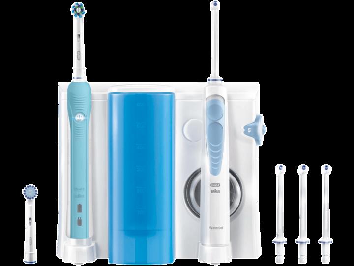 Verschiedene Bürstenköpfe des Water Jet Pro 700 ermöglichen optimale Mundhygiene.