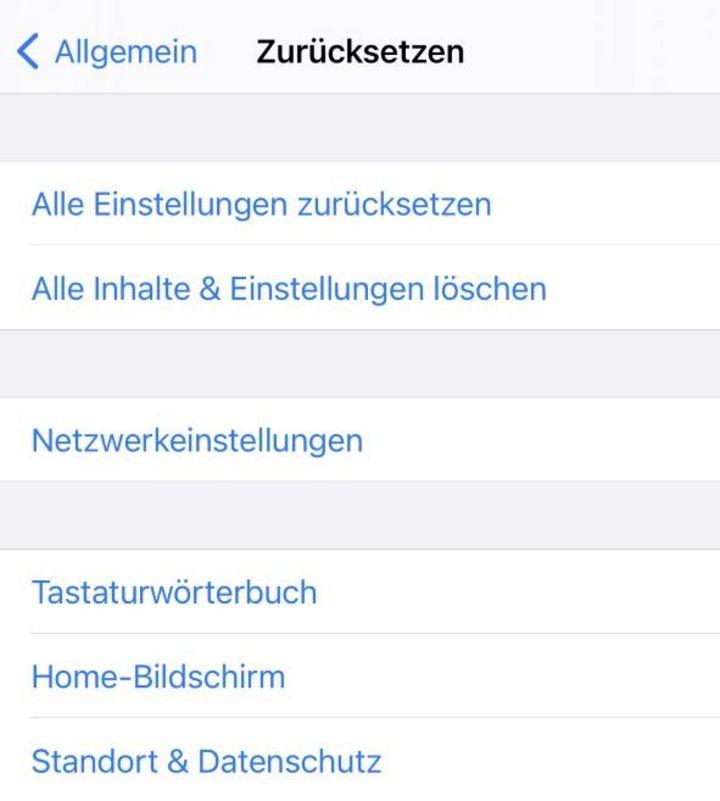 """""""Zurücksetzen"""" auf dem iPhone"""