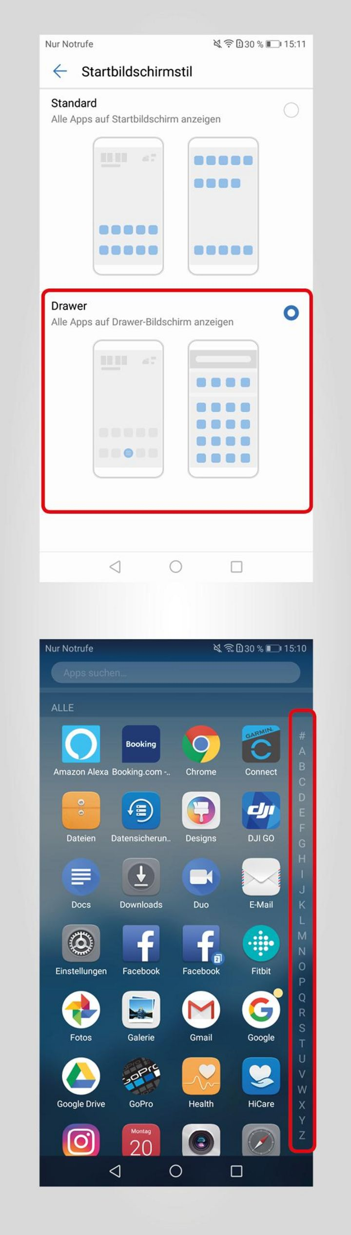 Apps alphabetisch anzeigen
