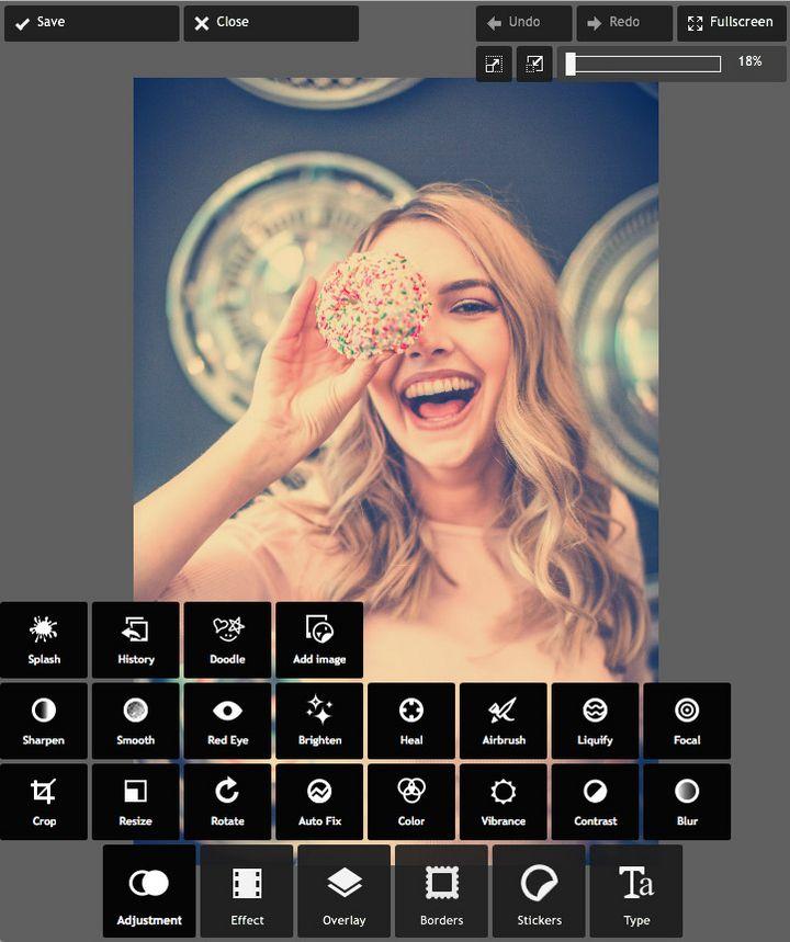 Pixlr Express dient der raschen Bildbearbeitung direkt im Browser: Filter, Sticker und Co. warten auf ihren Einsatz.