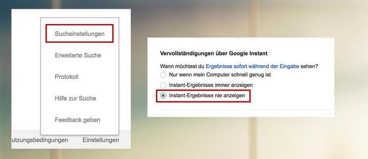 """Unter """"Einstellungen"""" rechts unten können Sie die """"Google Instant Search"""" deaktivieren."""