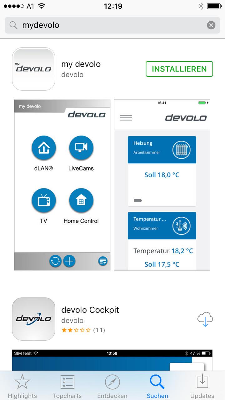 """Ein Screenshot der """"Devolo Home Control""""-App"""