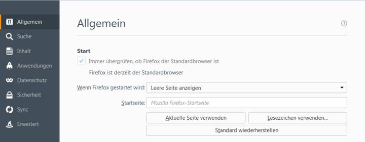 Startseite leerlassen macht Firefox schneller.