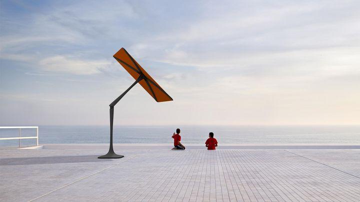 """Als erstes vollautomatisches Beschattungssystem bezeichnet das US-Unternehmen ShadeCraft den Sonnenschirm """"Sunflower""""."""