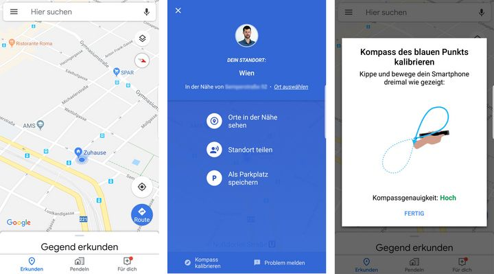 Google Maps Kompass kalibirieren.