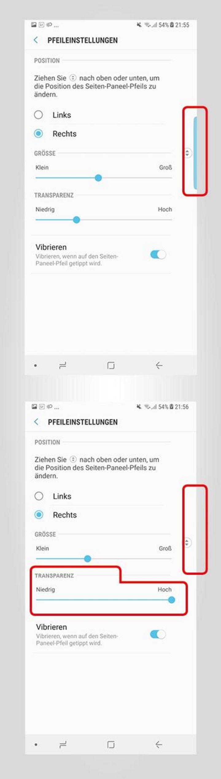 """Unter """"Einstellungen"""", """"Anzeige - Seitenbildschirm"""" und """"Seiten-Paneele"""" lassen sich die Seiten-Paneele im Detail individualisieren."""