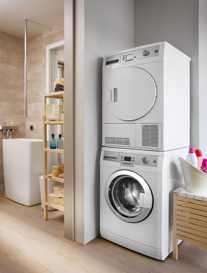 Trockner können auch auf der Waschmaschine stehen.