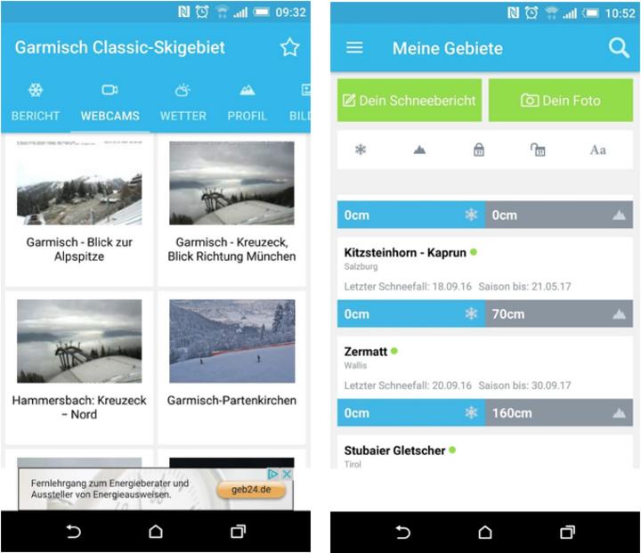 Screenshots aus Skiinfo Ski & Schneehöhen