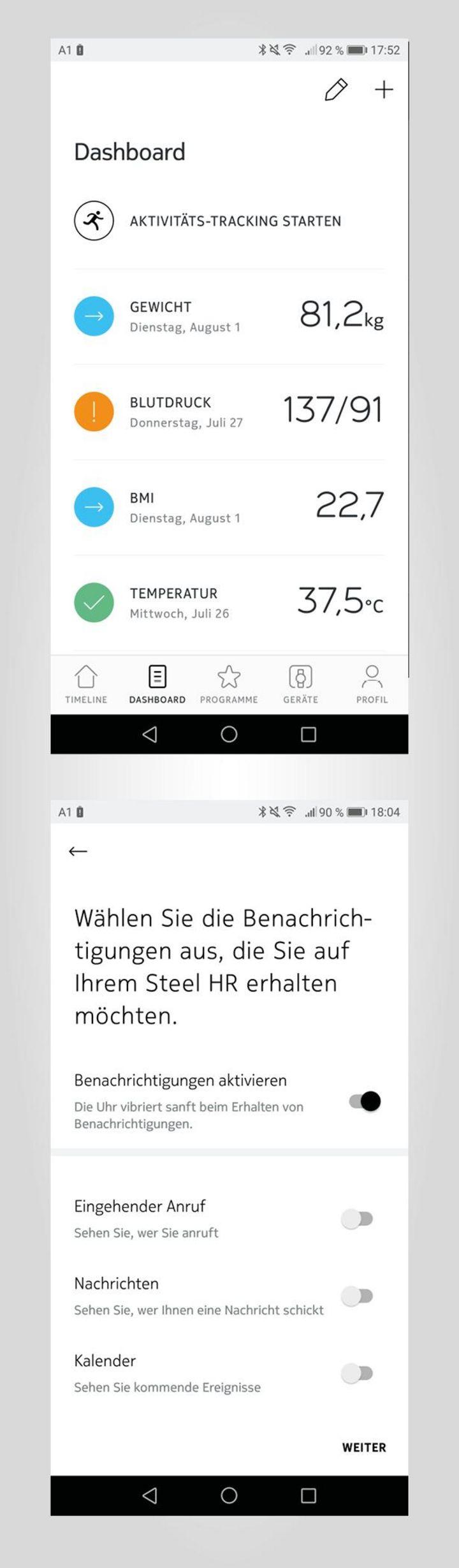 """Ein wahrhaft geniales Duo bildet die """"Nokia Steel HR"""" in Kombination mit der """"Nokia Health Mate-App""""."""