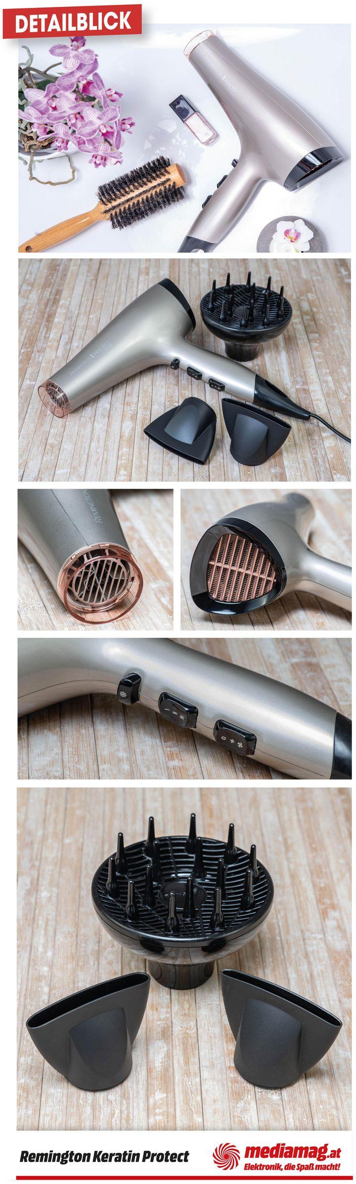 Remington Keratin Protect Haartrockner AC8002: Stylingdüsen, Diffusor und Keratinbeschichtung stylen das Haar schonend.