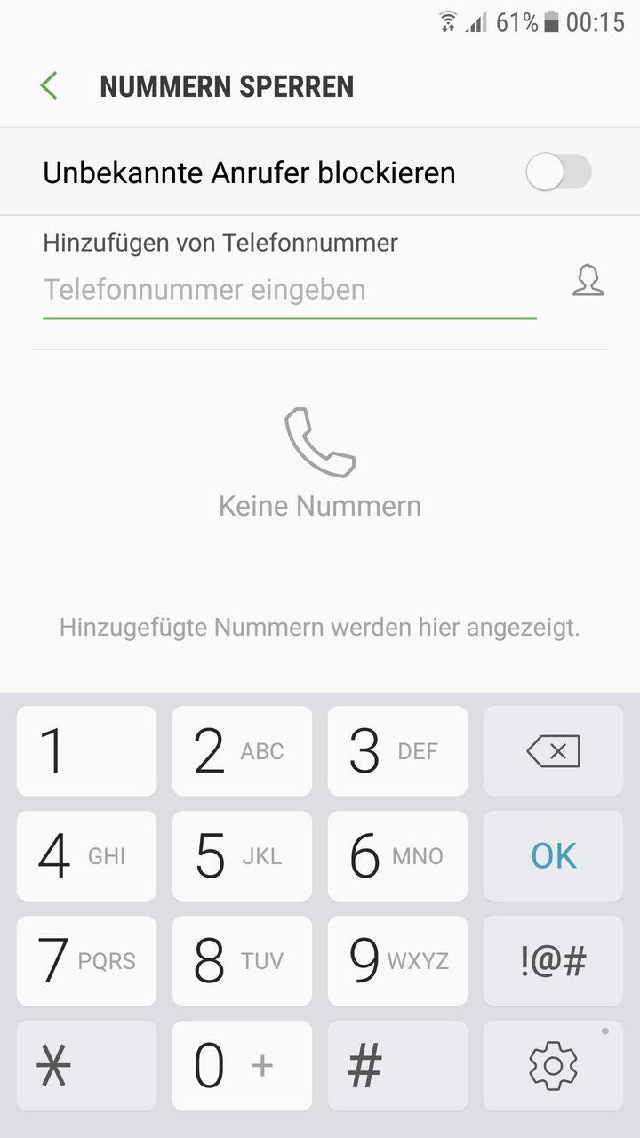 Samsung lässt Sie Nummern sperren.