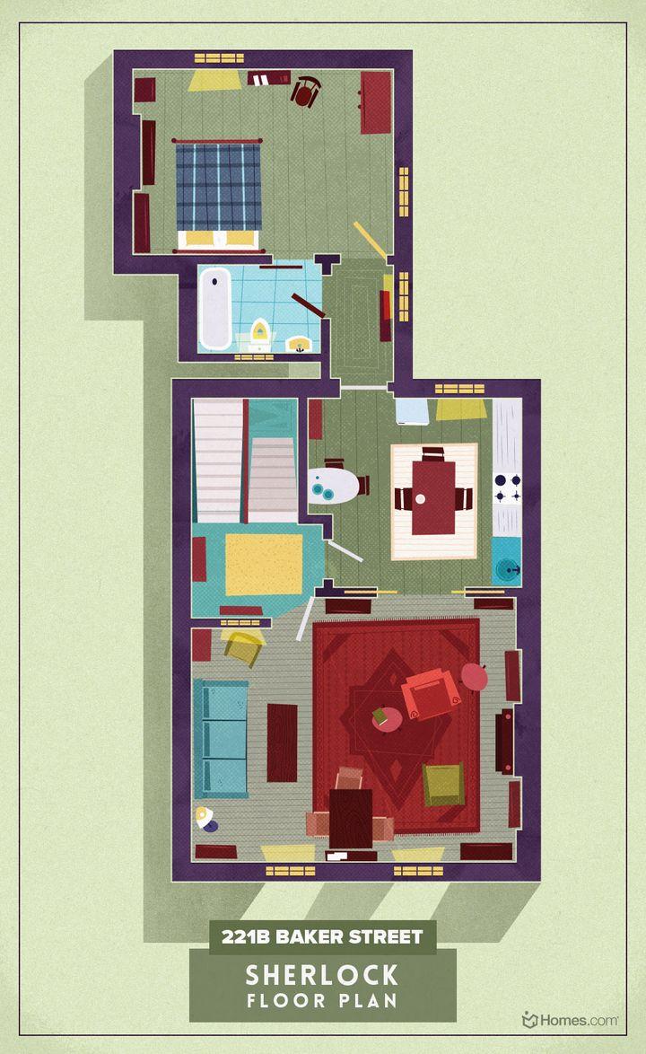 Die Wohnung von Sherlock Holmes aus der TV-Serie Sherlock im Grundriss.