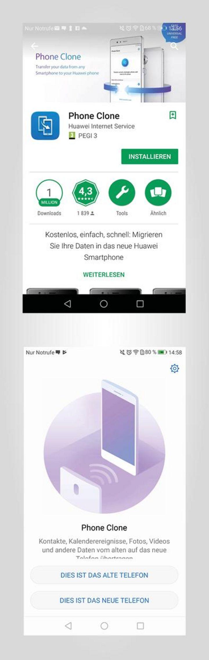 Alle Daten auf das Huawei Mate10 Pro übertragen – mit der App Phone Clone.