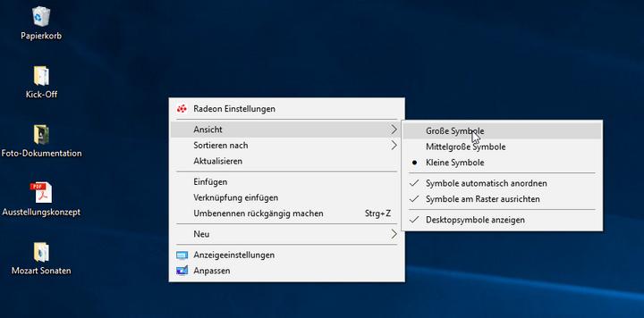 """Am Desktop wählen Sie im Kontextmenü """"Ansicht"""" zwischen unterschiedlichen Symbolgrößen Ihrer Windows-Ordner."""