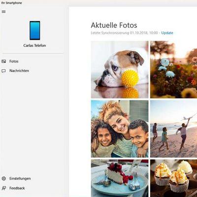 """Die im Oktober-Update veröffentlichte """"Ihr Smartphone""""-App verknüpft Smartphone und PC."""