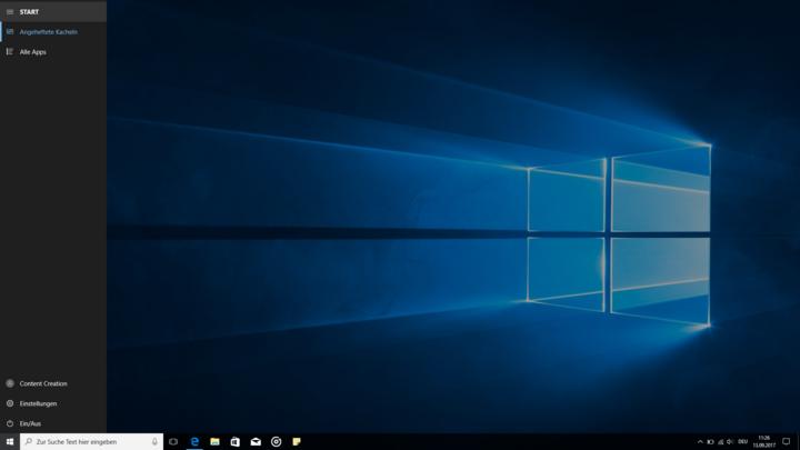 Windows 10: Startmenü ohne Kacheln.