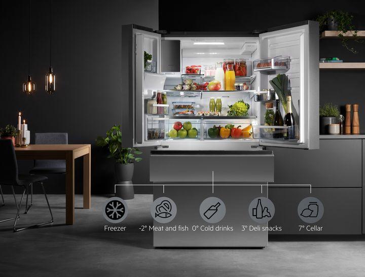 Der AEG French Door-Kühlschrank verfügt über MultiChill-Technologie für intuitives Temperaturmanagement.