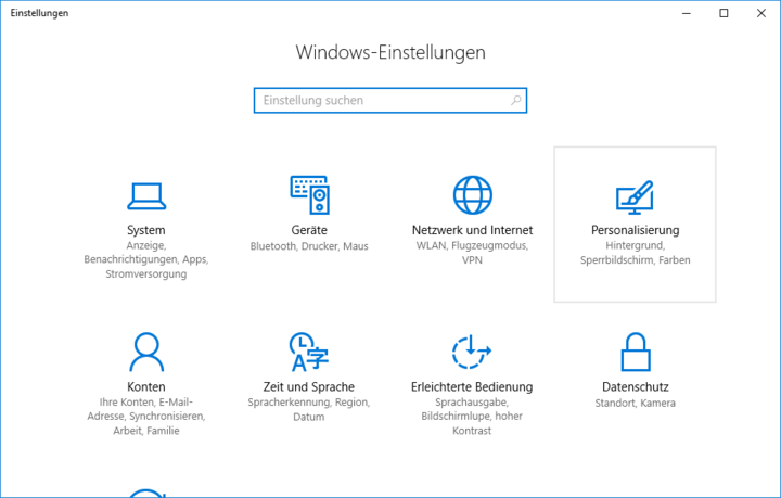 Ein Screenshot der Systemeinstellungen unter Windows 10