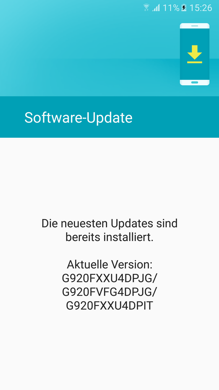 Ein Screenshot des Update-Bildschirms