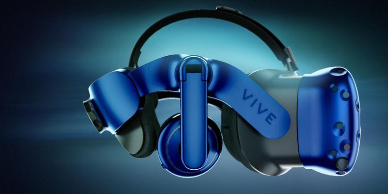 "HTC VIVE hat auf der CES (""Consumer Electronics Show"") in Las Vegas das Virtual-Reality-Headset ""HTC Vive Pro"" samt drahtlosem Adapter vorgestellt."