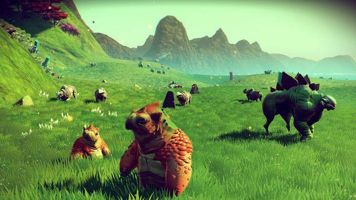 Kreaturen tummeln sich auf einem der Planeten von No Man's Sky.