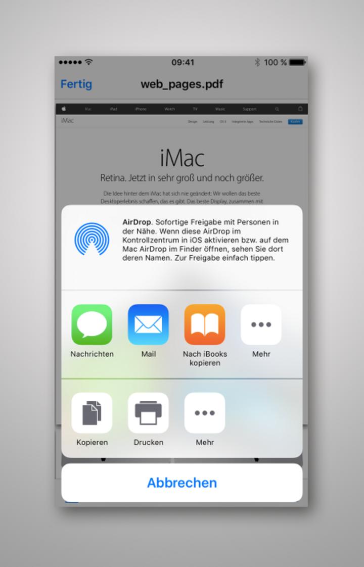 """PDF mit einem Klick auf """"Nach iBooks kopieren"""" speichern."""