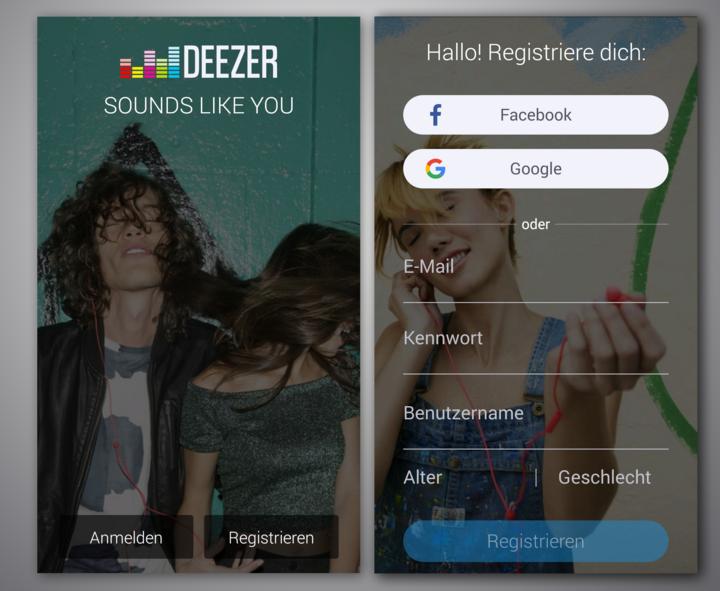 """""""Deezer"""" Account erstellen."""