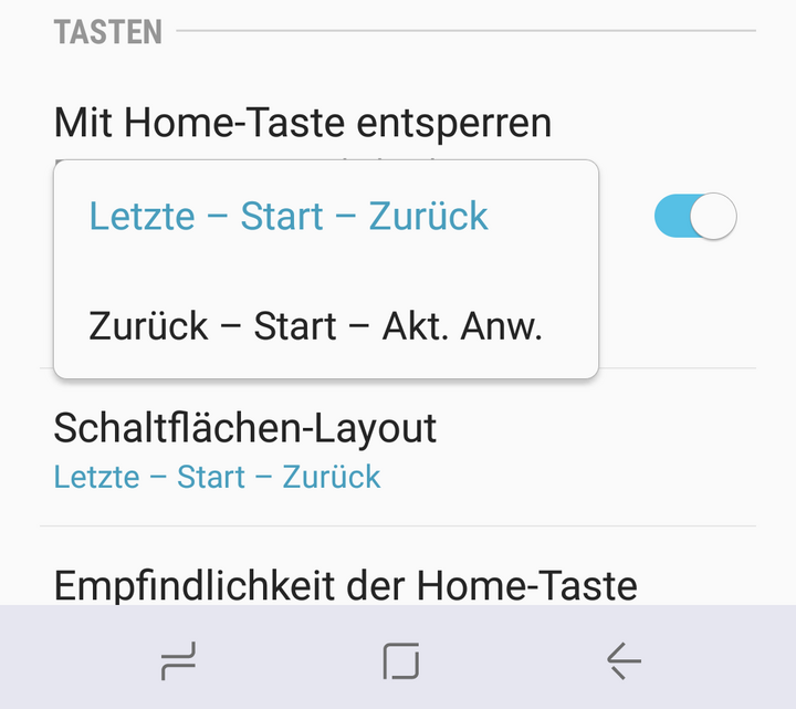 """Anordnung des """"Zurück-Button"""" ändern"""