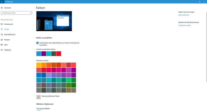 Viele Farben stehen zur Auswahl.
