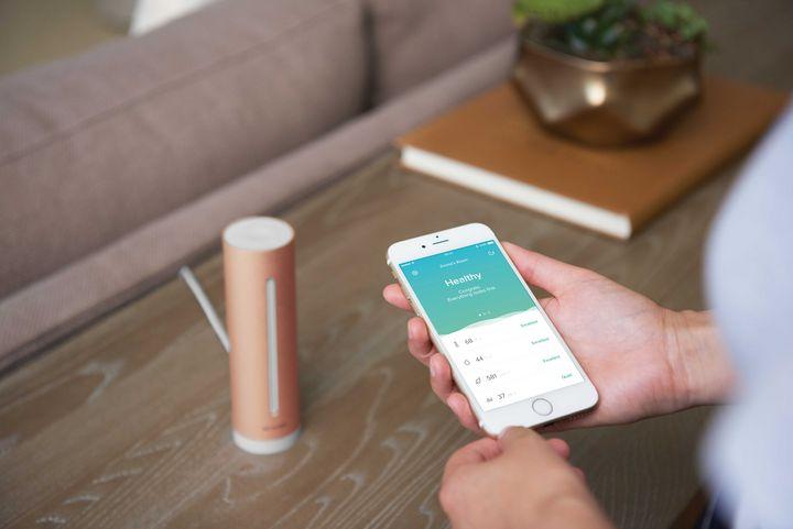 """Ein """"Netatmo Healthy Home Coach"""" und die dazugehörige App auf einem Smartphone"""