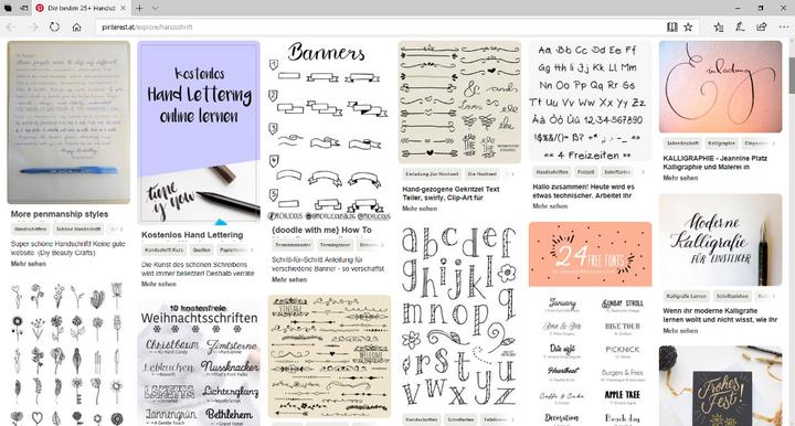 Pinterest bietet viele Handlettering-Ideen.