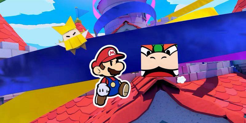 Mario kämpft gegen Origami-Bösewichte.