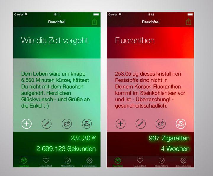 """Motivations-Texte in der App """"Rauchfrei Pro""""."""