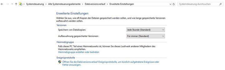 Sicherungen einrichten gelingt über die Windows-Einstellungen.