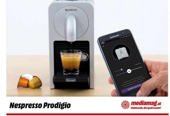 Die Nespresso Prodigio zaubert wahlweise Ristretto, Espresso oder Lungo.