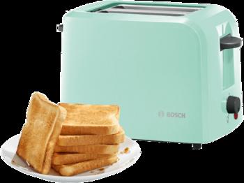 Der Kompakt-Toaster CompactClass von Bosch in Mint macht eine gute Figur auf dem Frühstückstisch.