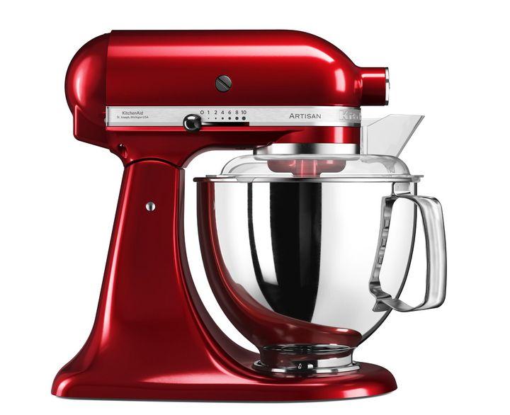 """Die Edelstahlschüssel der """"KitchenAid 5 KSM 175 PSECA Artisan"""" passt zum auffällig rotem Design."""