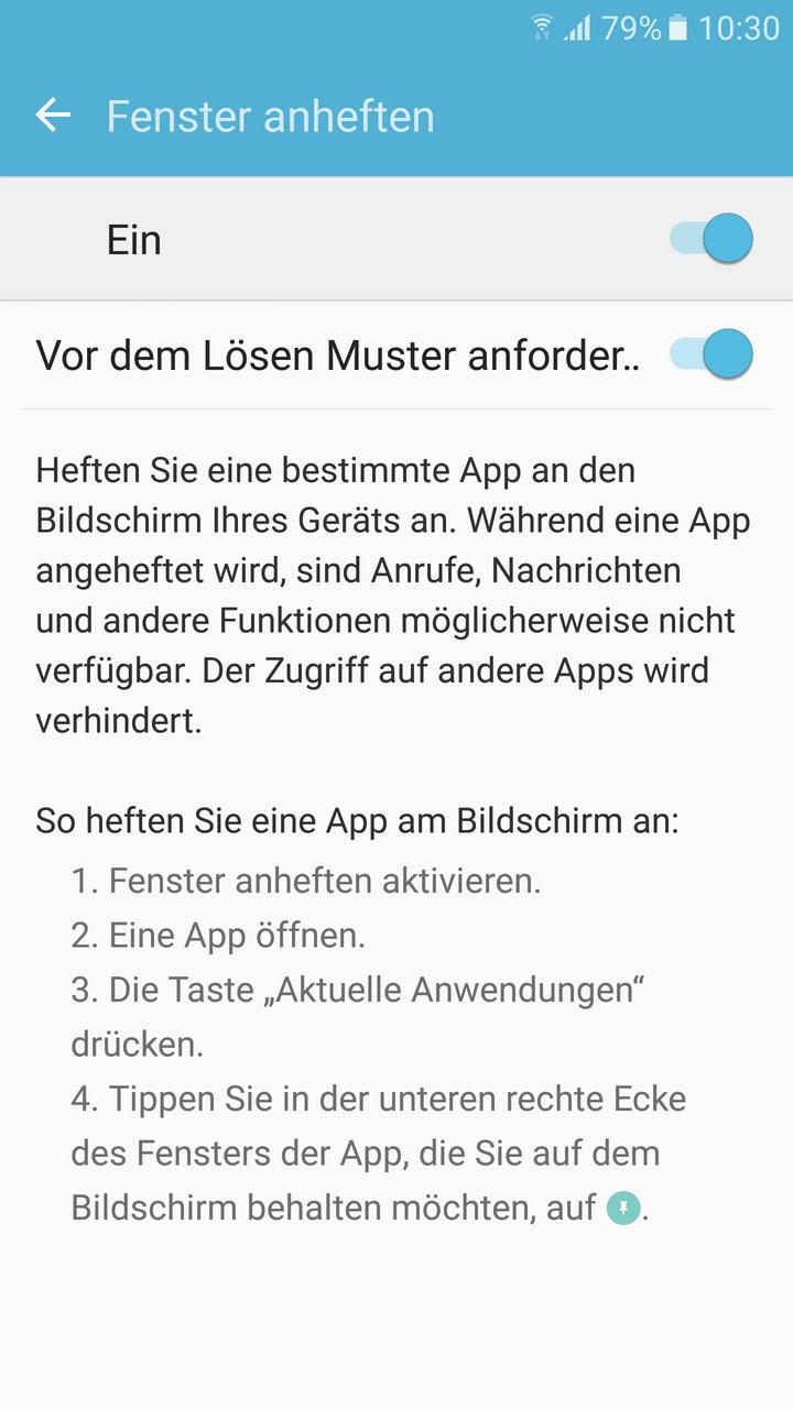 """Ein Screenshot, welcher das """"Fenster fixieren""""-Menü auf Samsung-Smartphones zeigt"""