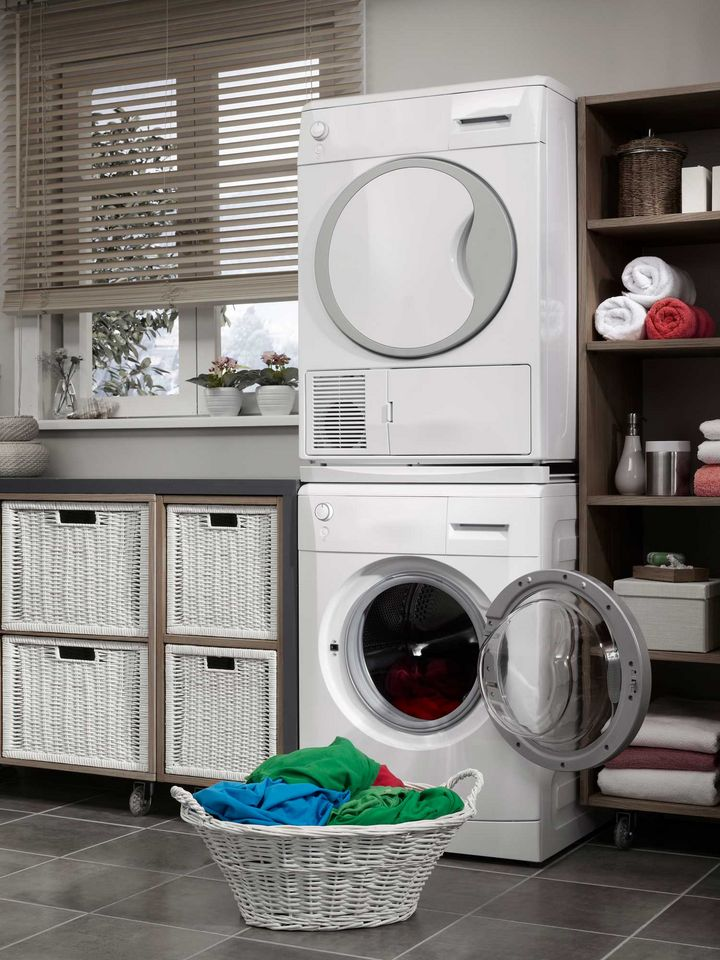 """Trockner und Waschmaschine können """"gestapelt"""" werden."""