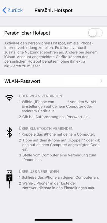 WLAN-Hotspot einrichten iOS