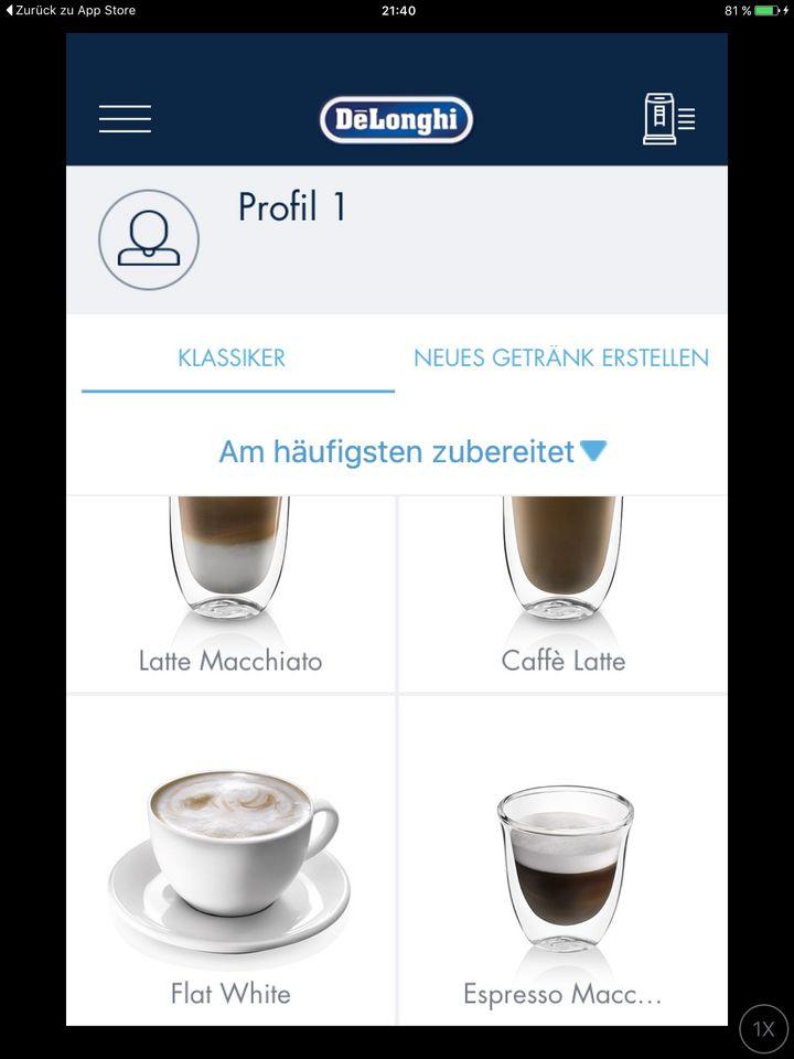 Das richtige Kaffeerezept wird per App ausgewählt
