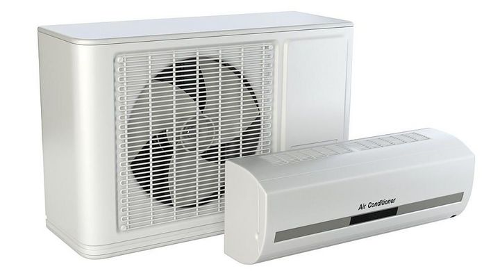 Die beiden Teile einer Split-Klimaanlage.