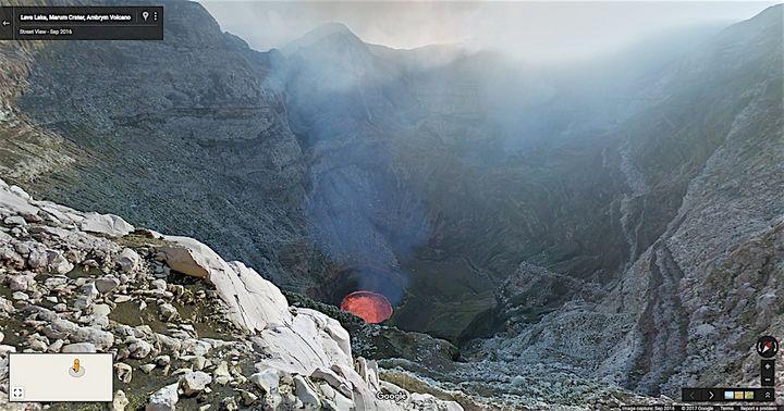 Der Vulkankrater Marum auf der Insel Ambrym kann per Google Street View virtuell erkundet werden.