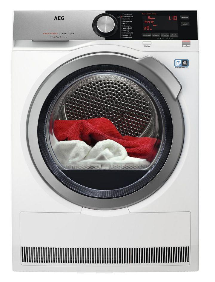 Trockenleistung und Energieverbrauch werden bei modernen Wärmepumpentrocknern wie den Modellen der AEG 9000er-Serie angepasst.