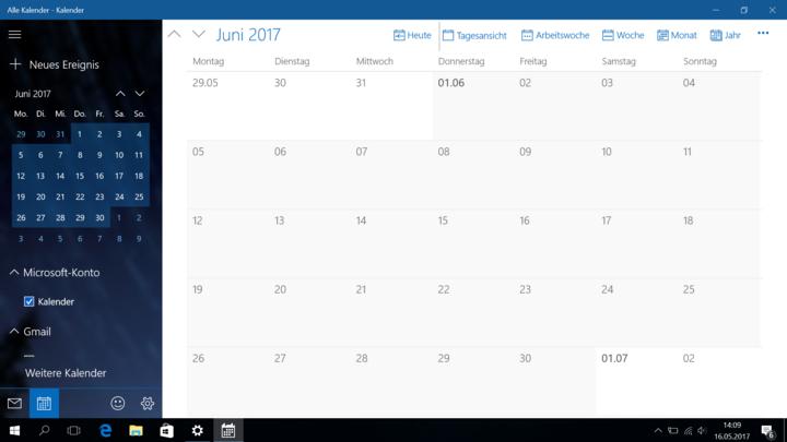 Kalender-App unter Windows 10.
