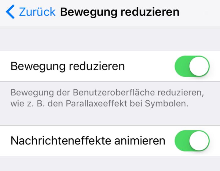 """Wer lieber auf Nachhaltigkeit anstatt auf grafische Opulenz setzt, aktiviert also unter iOS lieber die Option """"Bewegungen reduzieren""""."""